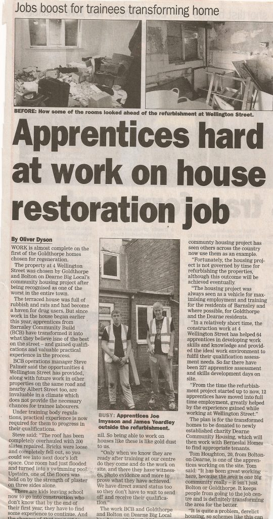 Dearne Community Housing - Newspaper Article