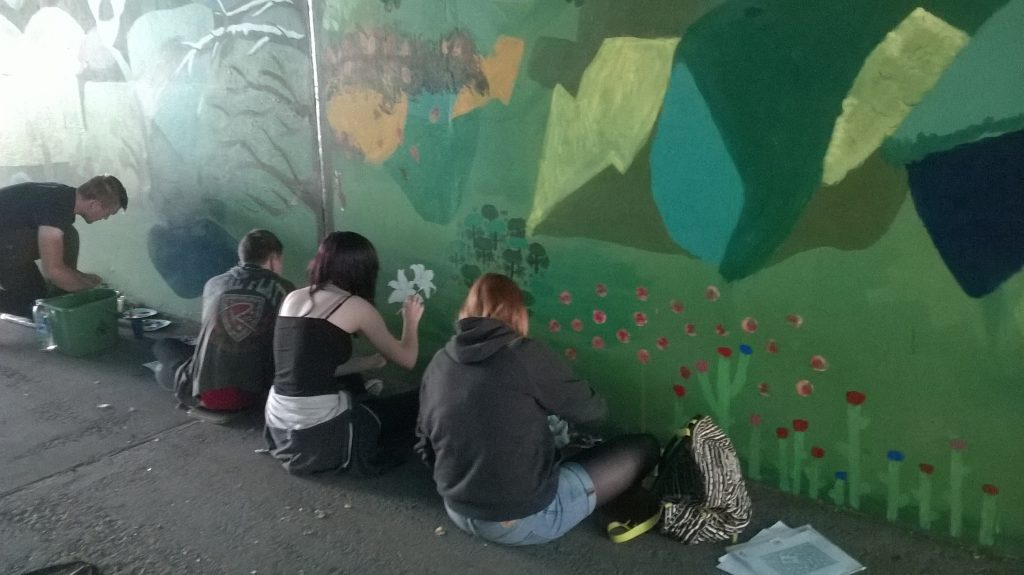 Goldthorpe Bolton Big Local - Painting the Phoenix Park Mural